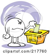 Royalty Free RF Clipart Illustration Of A Moodie Character With An Angry Expression Putting A Comment In A Suggestion Box by Johnny Sajem