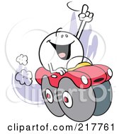 Royalty Free RF Clipart Illustration Of A Moodie Character Riding High In A Red Car by Johnny Sajem