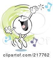 Royalty Free RF Clipart Illustration Of A Moodie Character Hitting A High Note by Johnny Sajem