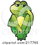 Royalty Free RF Clipart Illustration Of A Green Frog Sitting And Thinking