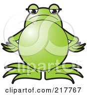 Royalty Free RF Clipart Illustration Of A Green Frog Standing With An Angry Expression by Lal Perera