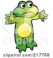 Royalty Free RF Clipart Illustration Of A Green Frog Shrugging