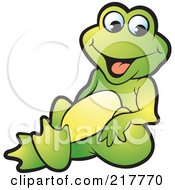 Royalty Free RF Clipart Illustration Of A Green Frog Sitting And Smiling