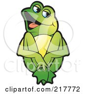 Royalty Free RF Clipart Illustration Of A Green Frog Sitting And Laughing