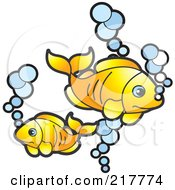 Royalty Free RF Clipart Illustration Of Goldfish And Bubbles by Lal Perera