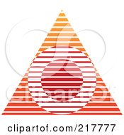 Royalty Free RF Clipart Illustration Of An Abstract Red And Orange Pyramid Or Triangle Icon With A Circle