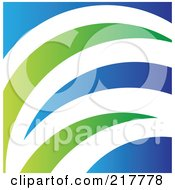 Royalty Free RF Clipart Illustration Of An Abstract Blue White And Green Grass Logo Icon Or Background by cidepix