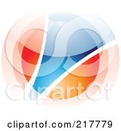 Royalty Free RF Clipart Illustration Of An Abstract Blurry Orange And Blue Orb In Motion Logo Icon 3