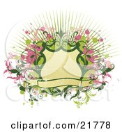 Clipart Picture Illustration Of A Blank Tan Banner And Shield With Green And Pink Splatters And Vines Over A Bursting Background On White