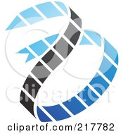 Royalty Free RF Clipart Illustration Of An Abstract Blue And Black Ribbon Logo Icon by cidepix