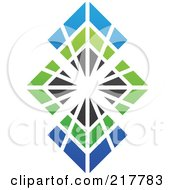 Royalty Free RF Clipart Illustration Of An Abstract Bursting Blue Green And Black Diamond Logo Icon