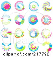 Royalty Free RF Clipart Illustration Of A Digital Collage Of Pastel Colored Design Elements Or Logos