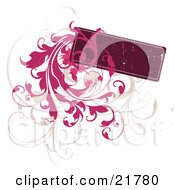 Blank Deep Red Text Box With Tan And Pink Leafy Vines Over White