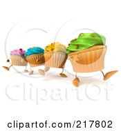 Royalty Free RF Clipart Illustration Of 3d Colorful Cupcakes Marching In Line