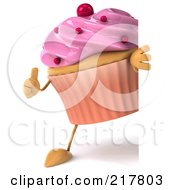 Royalty Free RF Clipart Illustration Of A 3d Strawberry Frosted Cupcake Holding A Thumb Up And Looking Around A Blank Sign