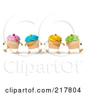 Royalty Free RF Clipart Illustration Of 3d Colorful Happy Cupcakes Marching Forward