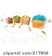 Royalty Free RF Clipart Illustration Of 3d Colorful Happy Cupcakes Jumping