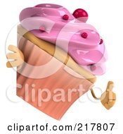 Royalty Free RF Clipart Illustration Of A 3d Strawberry Frosted Cupcake Looking Around A Blank Sign And Giving A Thumbs Up