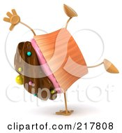 Royalty Free RF Clipart Illustration Of A 3d Chocolate Frosted Cupcake Doing A Hand Stand