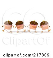 Royalty Free RF Clipart Illustration Of 3d Chocolate Frosted Cupcakes Marching Forward