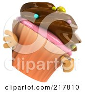 Royalty Free RF Clipart Illustration Of A 3d Chocolate Frosted Cupcake Pointing And Looking Around A Blank Sign