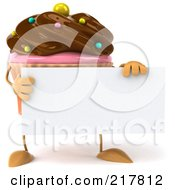 Royalty Free RF Clipart Illustration Of A 3d Chocolate Frosted Cupcake Holding A Blank Sign Board