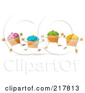 Royalty Free RF Clipart Illustration Of 3d Happy Cupcakes Jumping