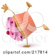 Royalty Free RF Clipart Illustration Of A 3d Strawberry Frosted Cupcake Doing A Hand Stand