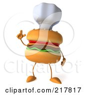 Royalty Free RF Clipart Illustration Of A 3d Cheeseburger Chef Holding Up A Finger