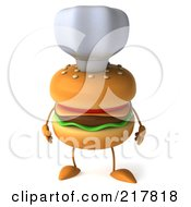 Royalty Free RF Clipart Illustration Of A 3d Cheeseburger Chef With Its Arms At Its Side