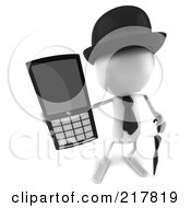 Royalty Free RF Clipart Illustration Of A 3d White Bob Character Holding Out A Cell Phone by Julos