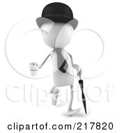 Royalty Free RF Clipart Illustration Of A 3d White Bob Character Walking With A Hat Tie And Umbrella