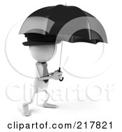 Royalty Free RF Clipart Illustration Of A 3d White Bob Character Walking Under An Umbrella