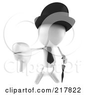 Royalty Free RF Clipart Illustration Of A 3d White Bob Character With A Hat Tie And Umbrella Holding A Thumb Down