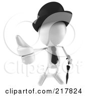 Royalty Free RF Clipart Illustration Of A 3d White Bob Character With A Hat Tie And Umbrella Holding A Thumb Up