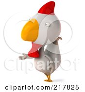 Royalty Free RF Clipart Illustration Of A 3d White Chicken Facing Left And Gesturing With One Hand