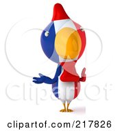 Royalty Free RF Clipart Illustration Of A 3d French Chicken Standing Beside A Blank Sign by Julos