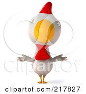 Royalty Free RF Clipart Illustration Of A 3d White Chicken Facing Front And Shrugging by Julos
