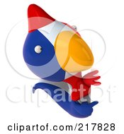 Royalty Free RF Clipart Illustration Of A 3d French Chicken Pointing At And Looking Around A Blank Sign by Julos