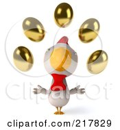 3d White Chicken Facing Front And Looking Up At Golden Eggs