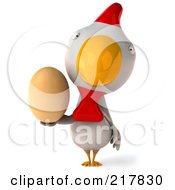 Royalty Free RF Clipart Illustration Of A 3d White Chicken Facing Front And Holding An Egg