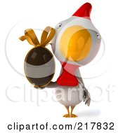 Royalty Free RF Clipart Illustration Of A 3d White Chicken Facing Front And Holding A Chocolate Egg
