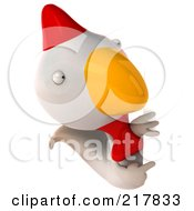 Royalty Free RF Clipart Illustration Of A 3d White Chicken Pointing At And Looking Around A Blank Sign