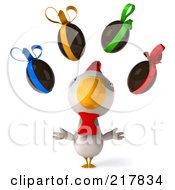 Royalty Free RF Clipart Illustration Of A 3d White Chicken Facing Front And Looking Up At Chocolate Eggs