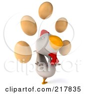 Royalty Free RF Clipart Illustration Of A 3d White Chicken Facing Right And Looking Up At Eggs