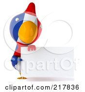 Royalty Free RF Clipart Illustration Of A 3d French Chicken Pointing At And Holding A Blank Sign by Julos