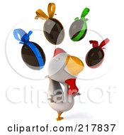 Royalty Free RF Clipart Illustration Of A 3d White Chicken Facing Right And Looking Up At Chocolate Eggs