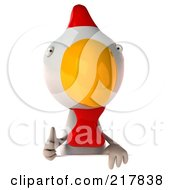 Royalty Free RF Clipart Illustration Of A 3d White Chicken Looking Over A Blank Sign