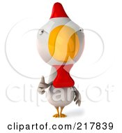 Royalty Free RF Clipart Illustration Of A 3d White Chicken Facing Front And Holding A Thumb Up
