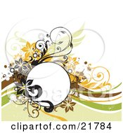 Clipart Picture Illustration Of A Blank White Text Circle With Green Orange Black And Brown Flowers Circles And Vines On A White Background